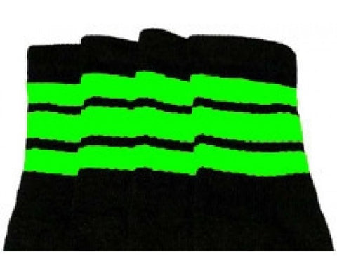 "Skater Socks 22"" Knee High Black w/ Green"