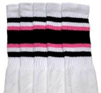 "Skater Socks 22"" Knee High White w/ Black & Pink"