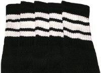 "Skater Socks 22"" Knee High Black w/ White"