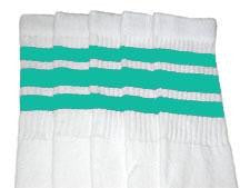 "Skater Socks 22"" Knee High White w/ Aqua"