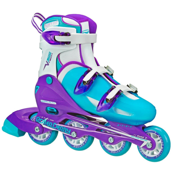 RDS V-Tech 500 Girls (US6-9) Blue Purple Adjustable Inline Skates