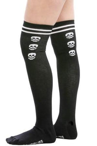 Sourpuss Varsity Skull Black Thigh High Socks