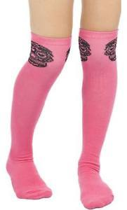 Sourpuss Muerte Pink Skull Thigh High Socks