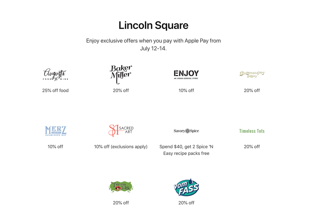 Apple Pay Promotion in Lincoln Square