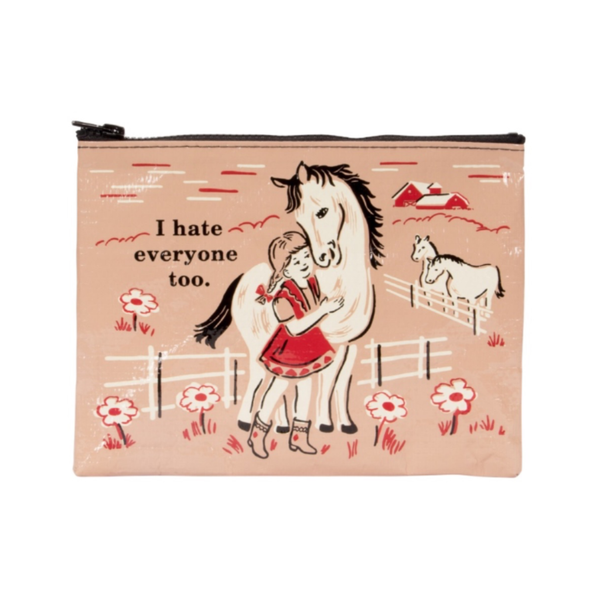I Hate Everyone Too Zipper Pouch Blue Q Apparel & Accessories - Bags - Pouches & Cases