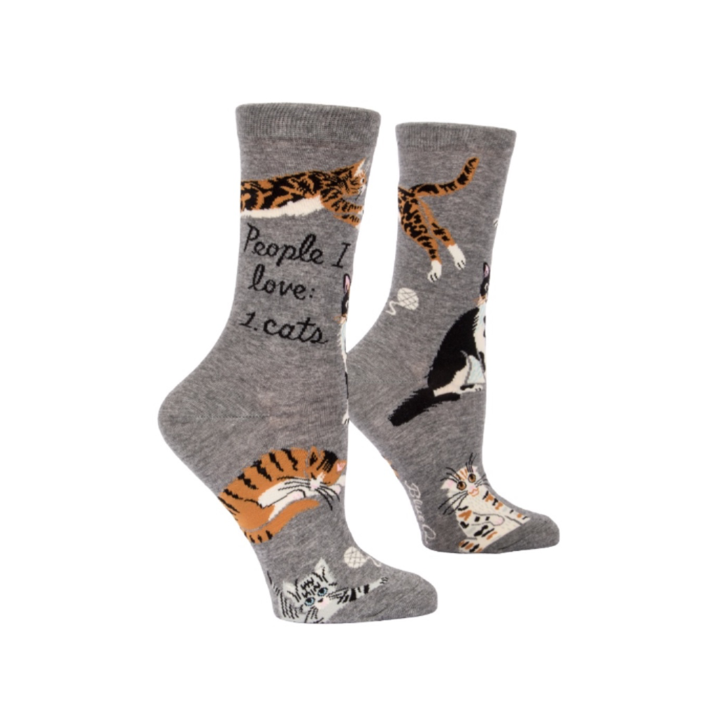 People I Love: Cats Crew Socks - Womens Blue Q Apparel & Accessories - Socks - Womens