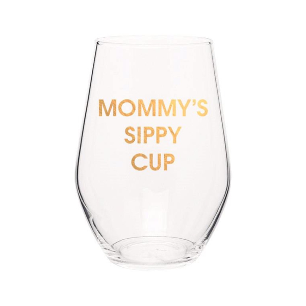 Mommy's Sippy Cup - Gold Foil Stemless Wine Glass Chez Gagne Beer, Cocktail & Wine Glasses