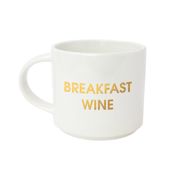 Breakfast Wine Gold Metallic Mug Chez Gagne Home - Mugs & Glasses