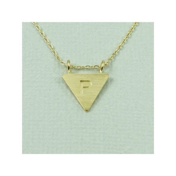 Gold Triangle Initial Necklace - P Cool And Interesting Jewelry - Necklaces - Words & Initials