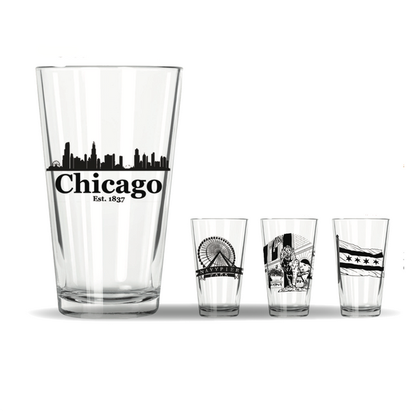 NAVY PIER Chicago Pint Glasses - Individual Styles Corkology Home - Mugs & Glasses