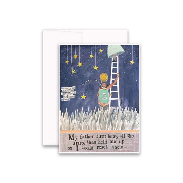 My Father Hung All The Stars Card Curly Girl Card - Blank