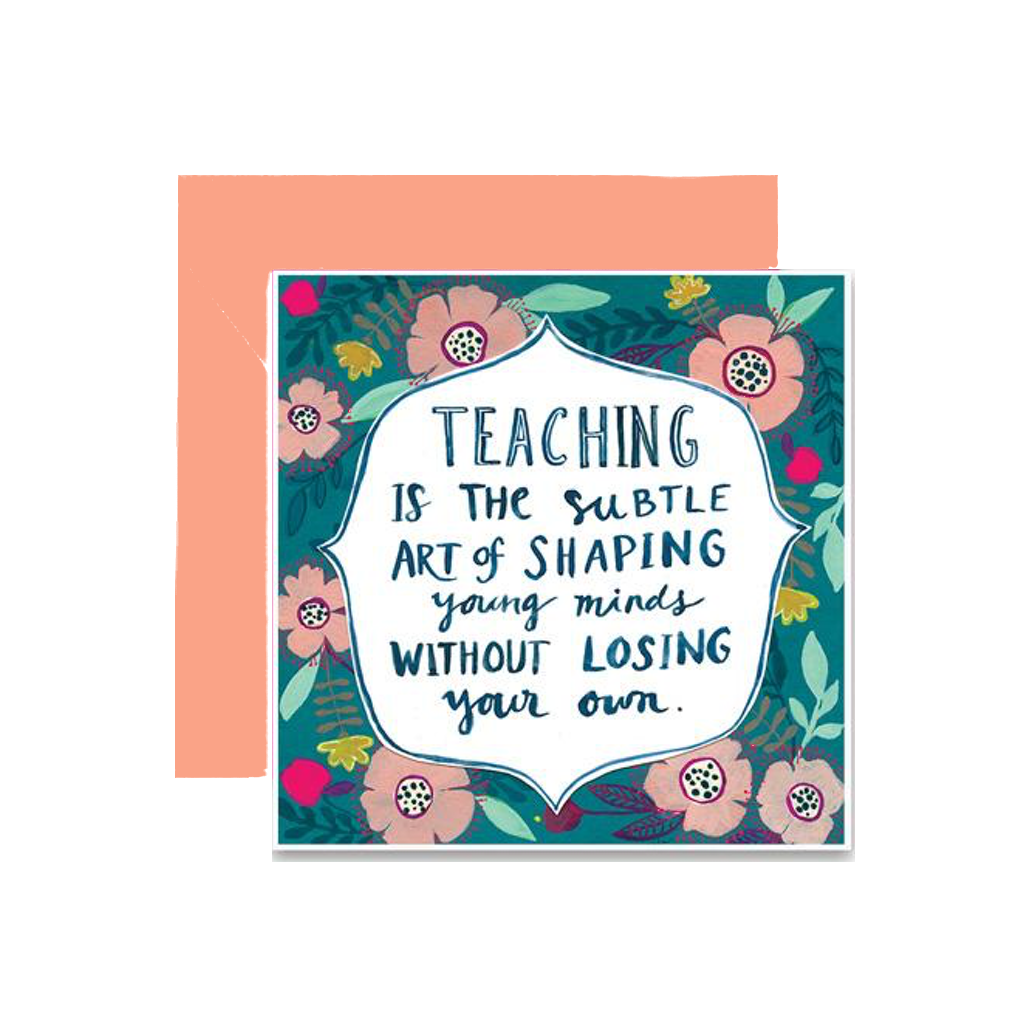 Shaping Young Minds Teacher Card Curly Girl Design Greeting Cards