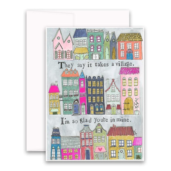 Takes a Village Card Curly Girl Greeting Cards