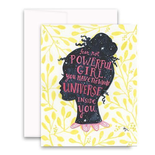 Universe Girl Curly Girl Greeting Cards