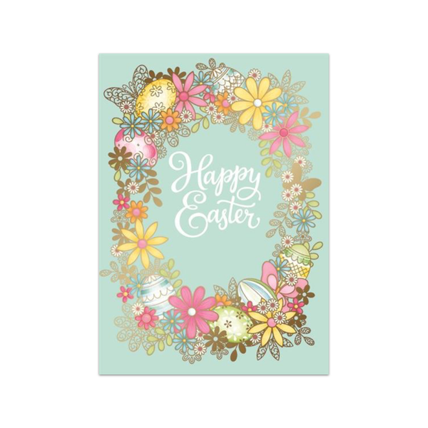 Floral Wreath Happy Easter Card Design Design Cards - Easter