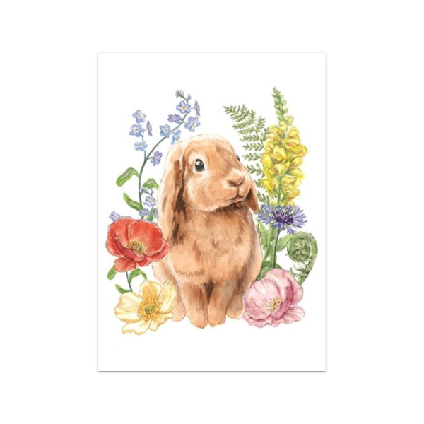 Rabbit in Flower Patch Easter Card Design Design Cards - Easter