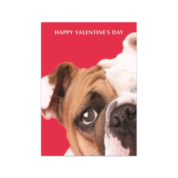 BullDog With Heart In Eye Valentine's Day Card Design Design Cards - Valentine's Day
