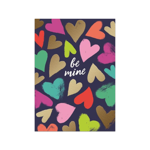 DES VALENTINE'S DAY CARD COLORFUL TEXTURED HEARTS BE MINE Design Design Cards - Valentine's Day