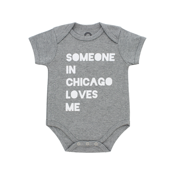 Someone In Chicago Loves Me Gray Onesie EMERSON & FRIENDS Apparel & Accessories - Clothing - Baby & Toddler - One-Pieces & Onesies