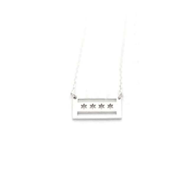 SILVER Chicago Flag Necklace Emerson & Friends Necklaces
