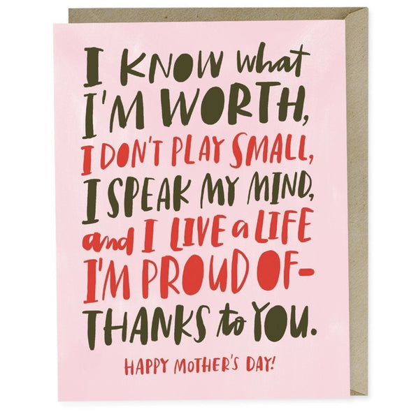 EMD CARD MOTHER'S DAY KNOW MY WORTH Emily McDowell Card - Mother's Day