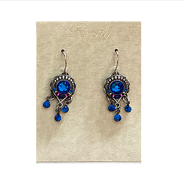 Firefly Brilliant Round Bermuda Blue Dangle Earrings Firefly Jewelry - Earrings