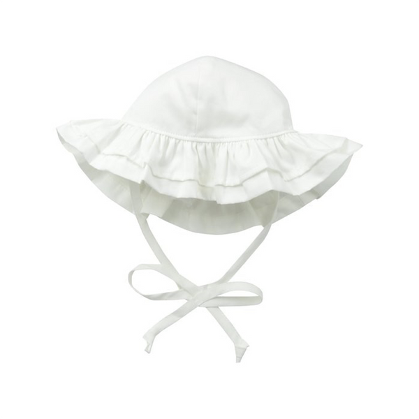 SMALL Double Ruffle Hat - White Flap Happy Baby - Accessories - Hats