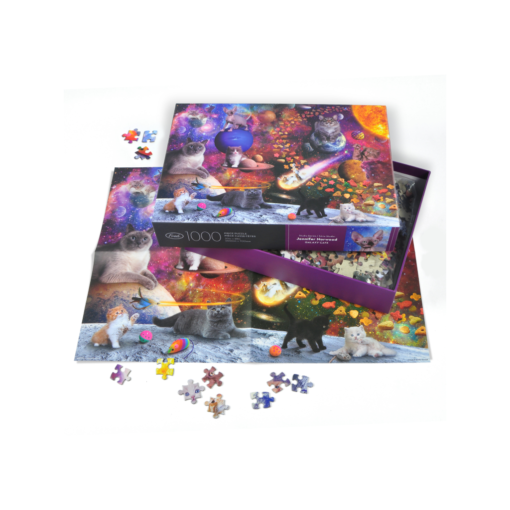 Jennifer Norwood Galaxy Space Cats 1000 Piece Jigsaw Puzzle Fred & Friends Toys & Games - Puzzles & Games - Jigsaw Puzzles