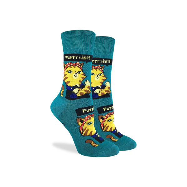 Purrsist Cat Crew Socks - Womens GOOD LUCK SOCK: GLS Socks - Women's