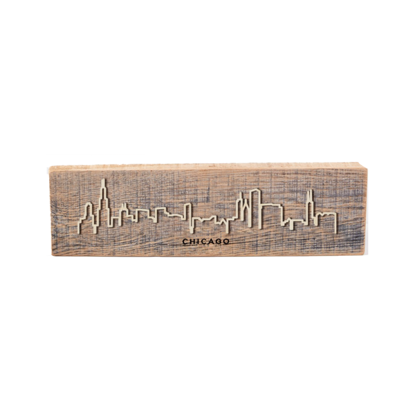 Chicago Reclaimed Wood Cityscape Sign Grainwell Home - Wall & Mantle - Plaques, Signs & Frames