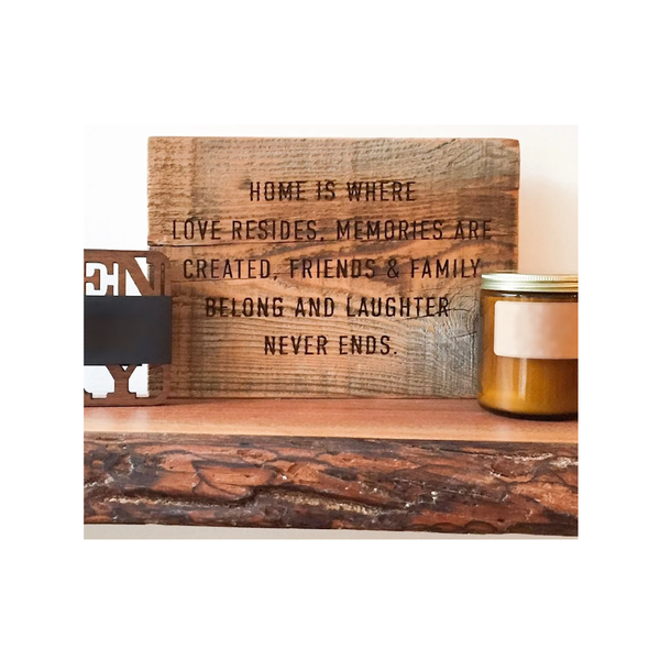 Hard Wood Quote Plaque - Home Is Where Love Resides Grainwell Home - Wall & Mantle - Plaques, Signs & Frames