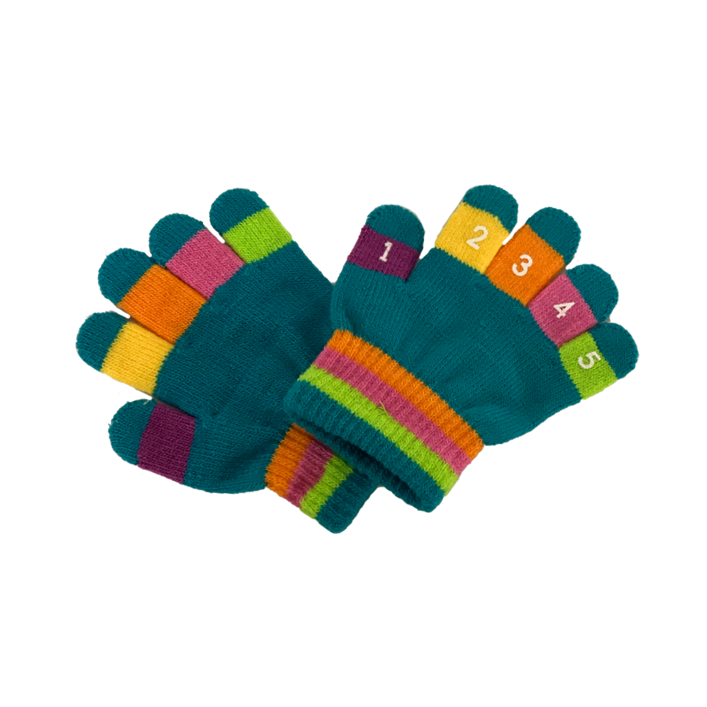 TEAL Toddler Knit Magic Stretch Glove with Numbers Grand Sierra Baby - Gloves & Mittens