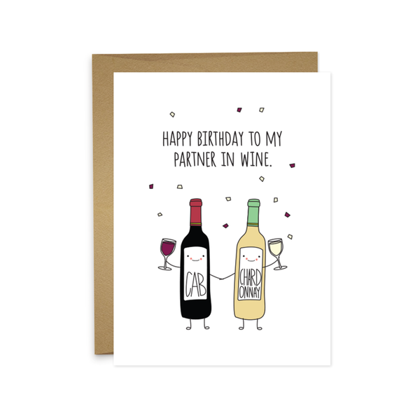 Partner In Wine Birthday Card Humdrum Paper Cards - Birthday