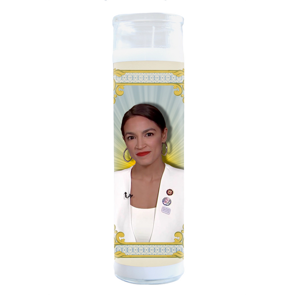 Alexandria Ocasio Cortez State of The Union Suit Prayer Candle Illuminidol Candles