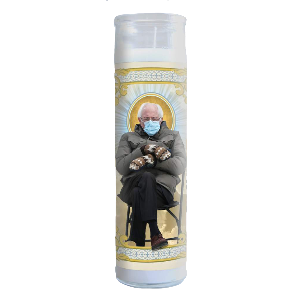 Bernie Sanders Cozy Mitten Celebrity Prayer Candle Illuminidol Home - Candles - Novelty