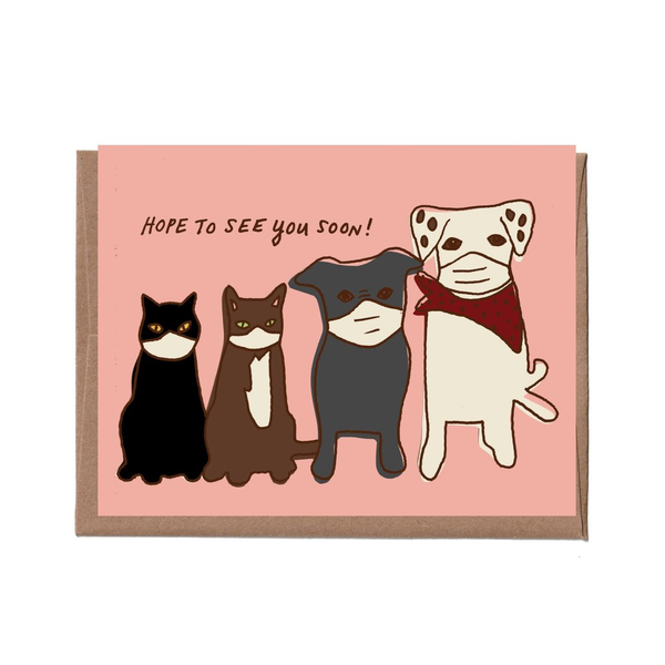 Pets in Masks Card LA FAMILIA GREEN Card - Blank