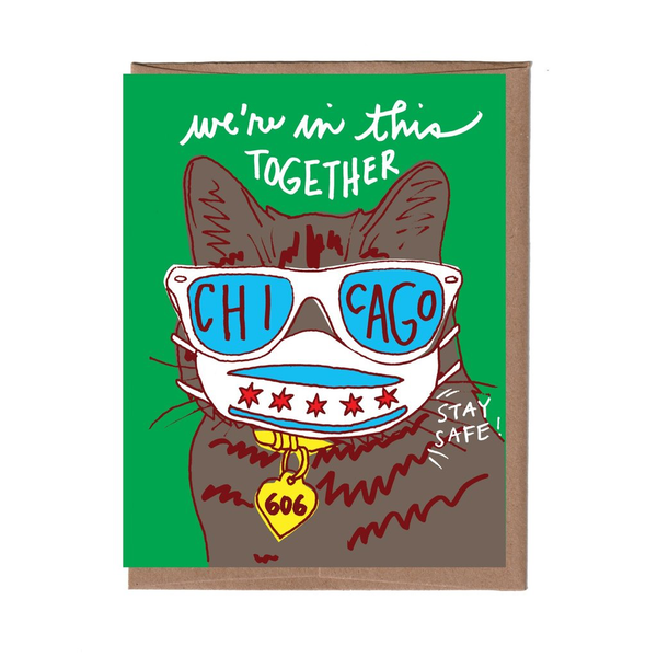 Chicago Cool Cat with Mask Card LA FAMILIA GREEN Card - Encouragement