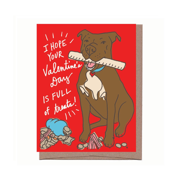 Dog Treats Valentine's Day Card La Familia Green Cards - Valentine's Day