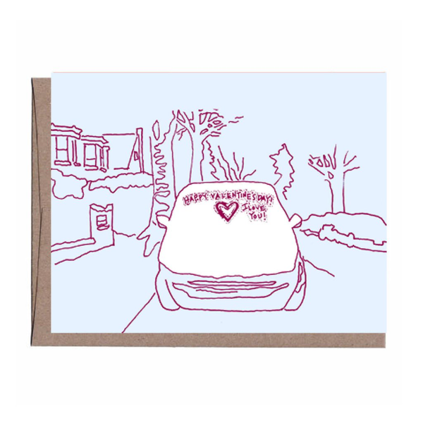 Snow Covered Car Valentine's Day Card La Familia Green Greeting Cards