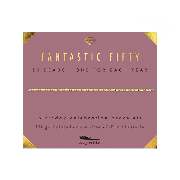 Birthday Milestone Bracelet - Fantastic Fifty Lucky Feather Jewelry - Bracelet