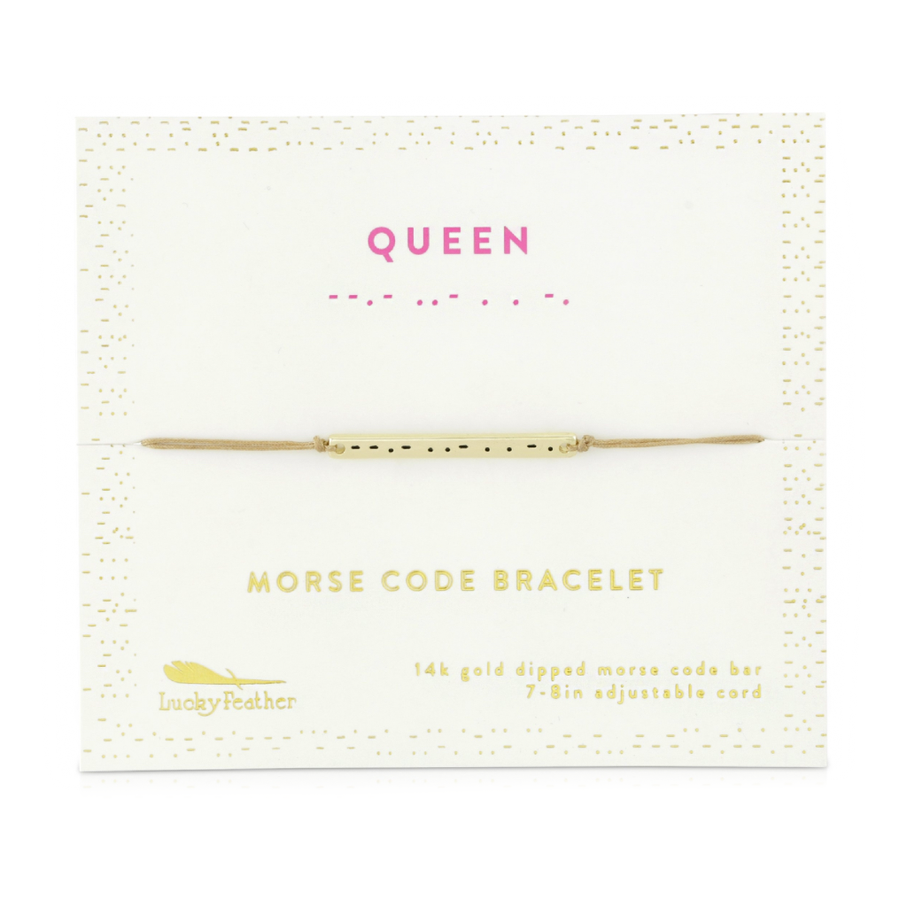 Morse Code Bar Bracelet - Queen Lucky Feather Jewelry - Bracelet
