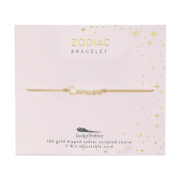 Zodiac Cord Bracelet Gold - CANCER Lucky Feather Jewelry - Bracelet