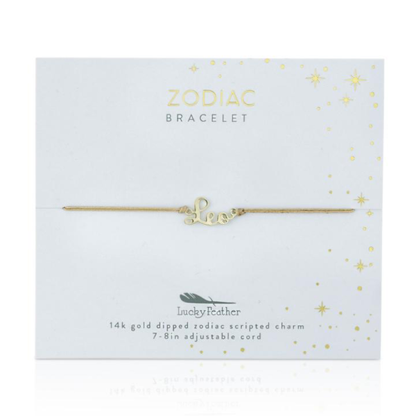 Zodiac Cord Bracelet Gold - LEO Lucky Feather Jewelry - Bracelet
