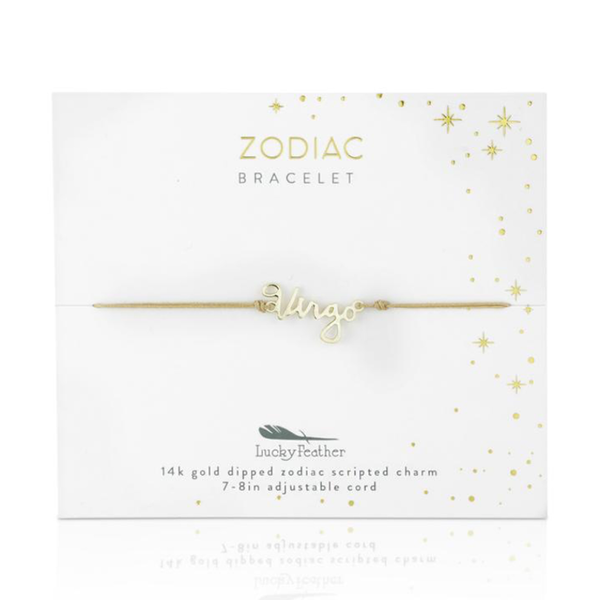 Zodiac Cord Bracelet Gold - VIRGO Lucky Feather Jewelry - Bracelet