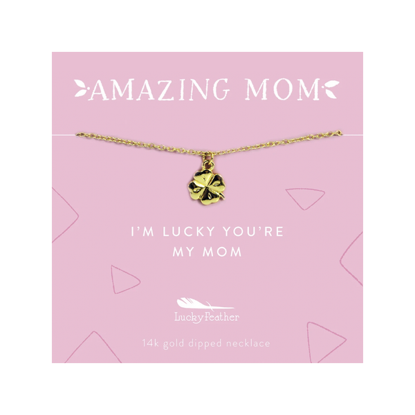 Amazing Mom Necklace - Lucky Clover Lucky Feather Jewelry - Necklace
