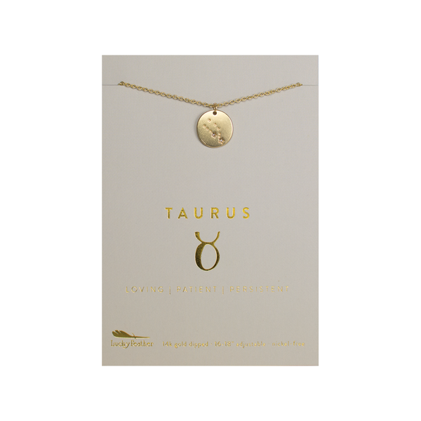 LUF ZODIAC NECKLACE TAURUS Lucky Feather Jewelry - Necklace