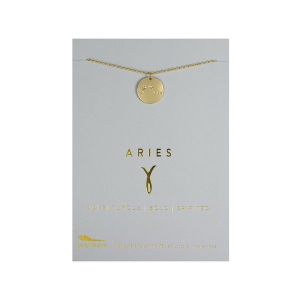Zodiac Necklace - ARIES Lucky Feather Jewelry - Necklace