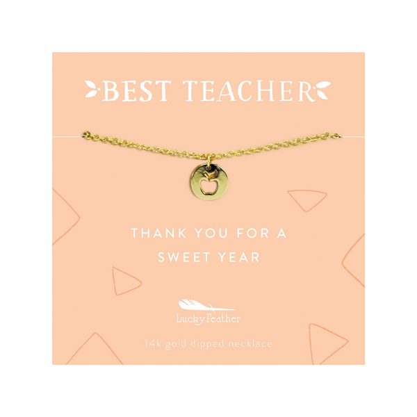 Teacher Necklace - Thank You For a Sweet Year - Gold - Apple Lucky Feather Jewelry - Necklaces