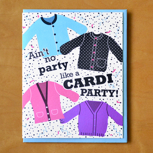 Cardigan Party Birthday Card McBitterson's Cards - Birthday