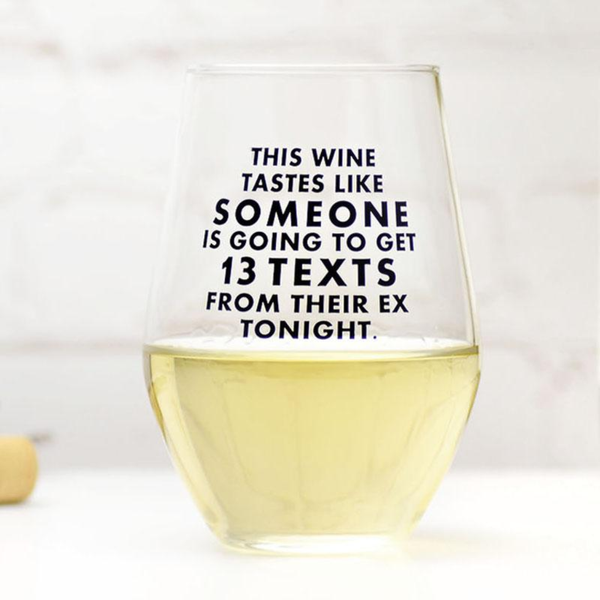 MER WINE GLASS TEXT FROM THEIR EX MERIWETHER Home